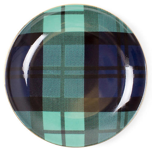 S/8 Plaid Dessert Plates, Black Watch