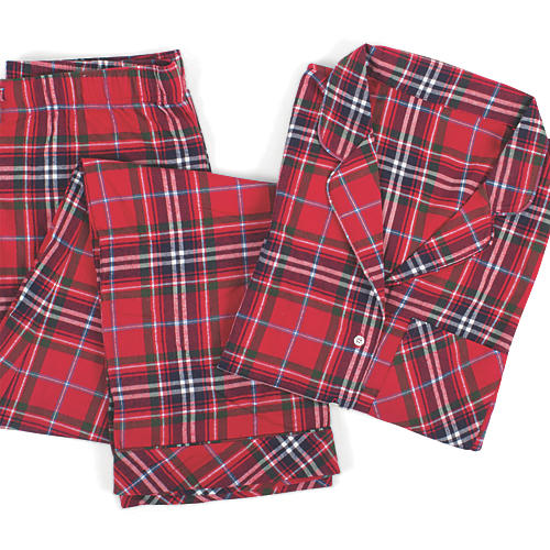 Cotton Pajama Set, Red Tartan Plaid