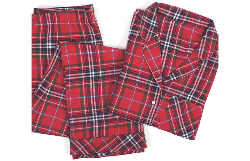 Cotton Pajama Set, Red Tartan Plaid