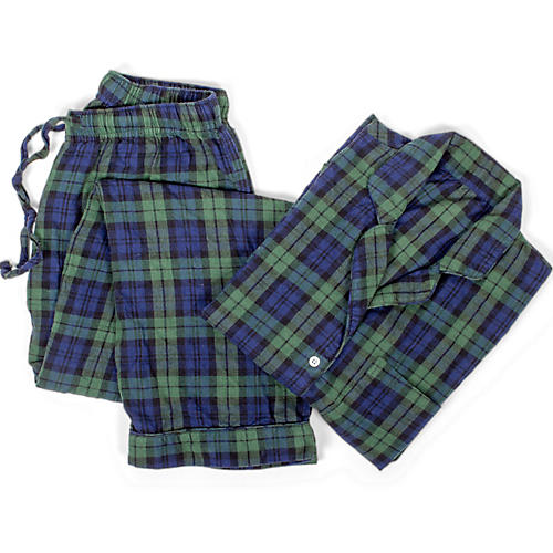 Cotton Pajama Set, Black Watch Plaid
