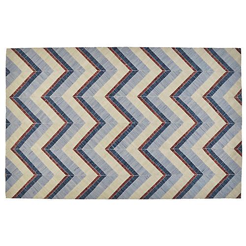 Purtu Flat-Weave Outdoor Rug, Blue/Ivory