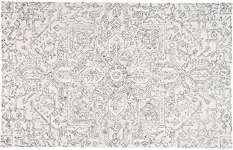 Nola Rug, Ivory/Charcoal