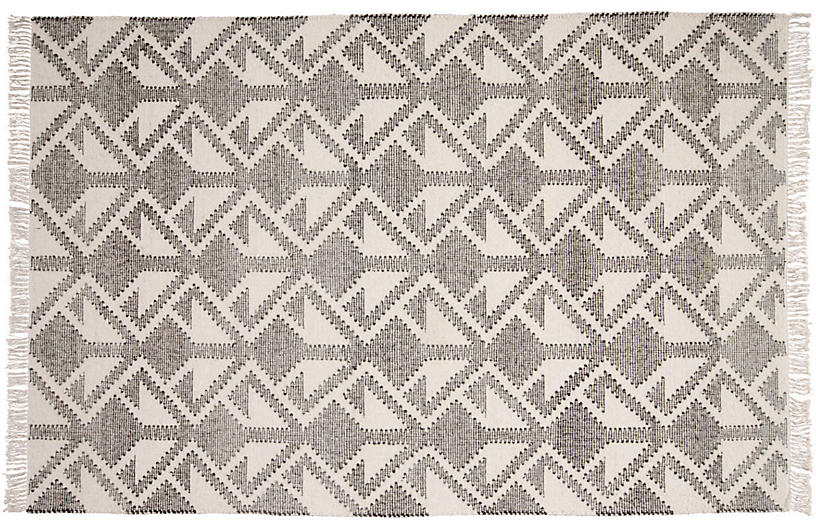 Luuk Handwoven Rug, Black/Cream