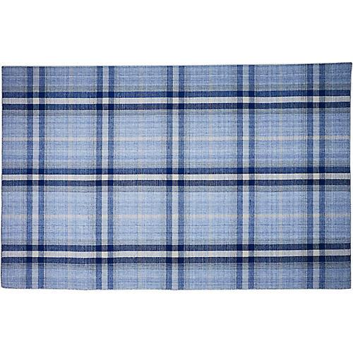 Bretton Plaid Outdoor Rug, Blue/Gray