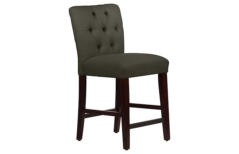 Kim Tufted Counter Stool, Charcoal