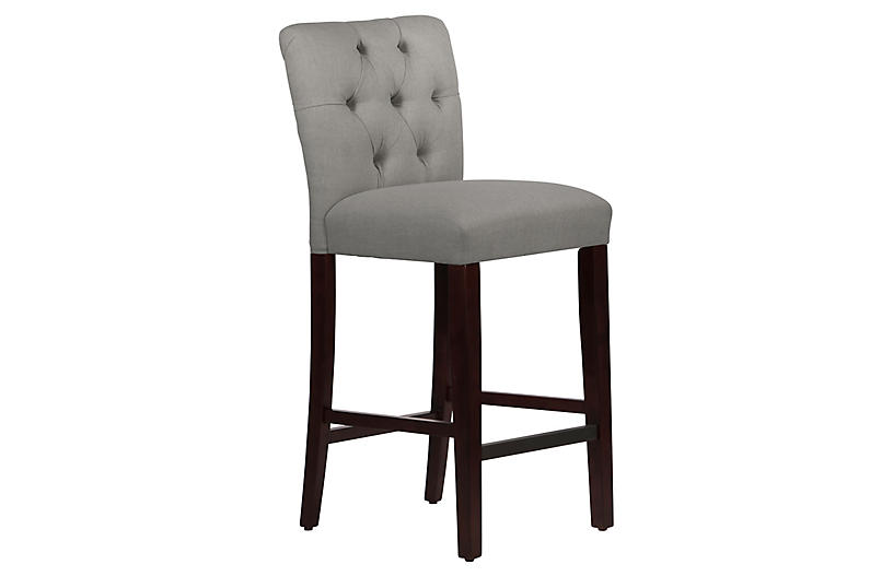 Kim Tufted Barstool, Gray