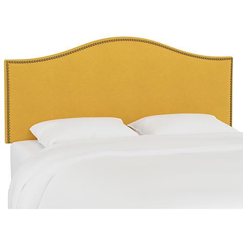 Tallman Nailhead Headboard, Mustard Linen