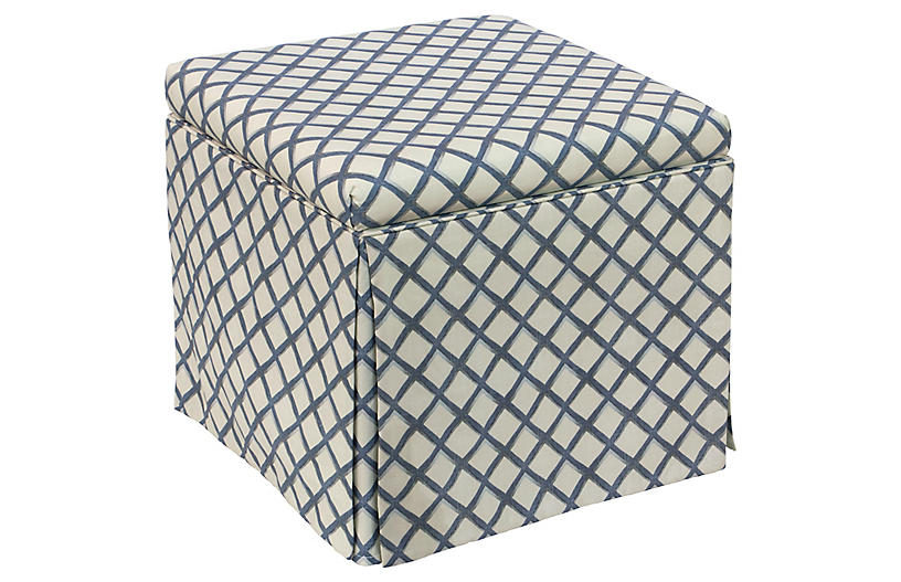 Anne Skirted Storage Ottoman, Navy/White Diamons