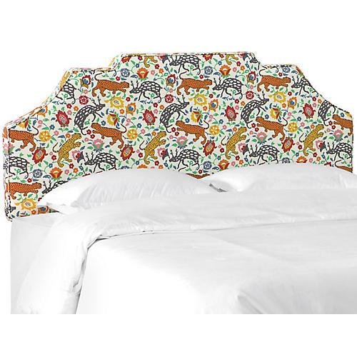 Maren Notched Headboard, Leopard Orange Linen
