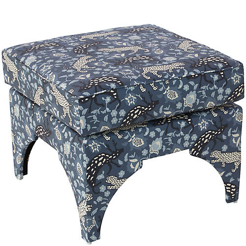Maude Pillow-Top Ottoman, Leopard Blue Linen