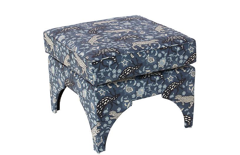 Maude Pillow-Top Ottoman, Leopard Blue Linen