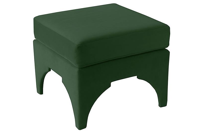 Maude Pillow-Top Ottoman, Emerald Velvet