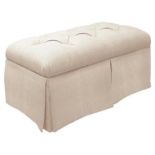 Olivia Skirted Storage Bench, Talc Linen
