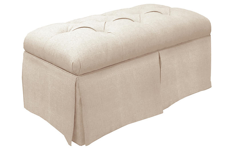 Olivia Skirted Storage Bench, Talc Linen