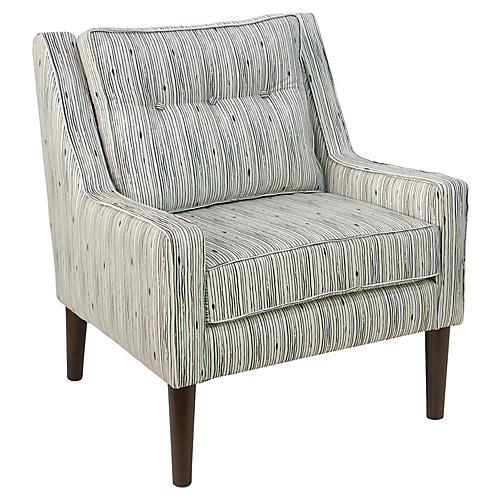 Shara Accent Chair, Shibori Stripe Linen