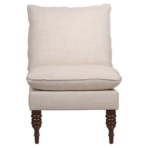 Daphne Slipper Chair, Talc Linen