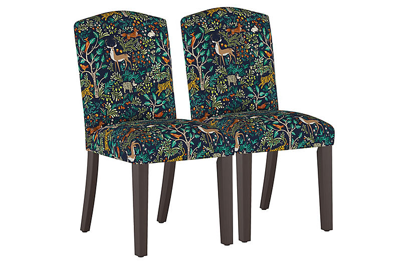 S/2 Marie Side Chairs, Navy Garden