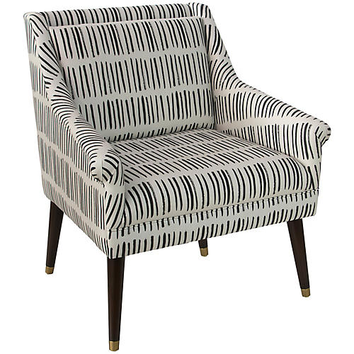 Carson Accent Chair, Dash Black Linen