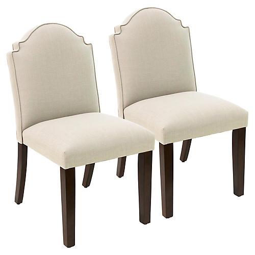 S/2 Elloree Side Chairs, Talc