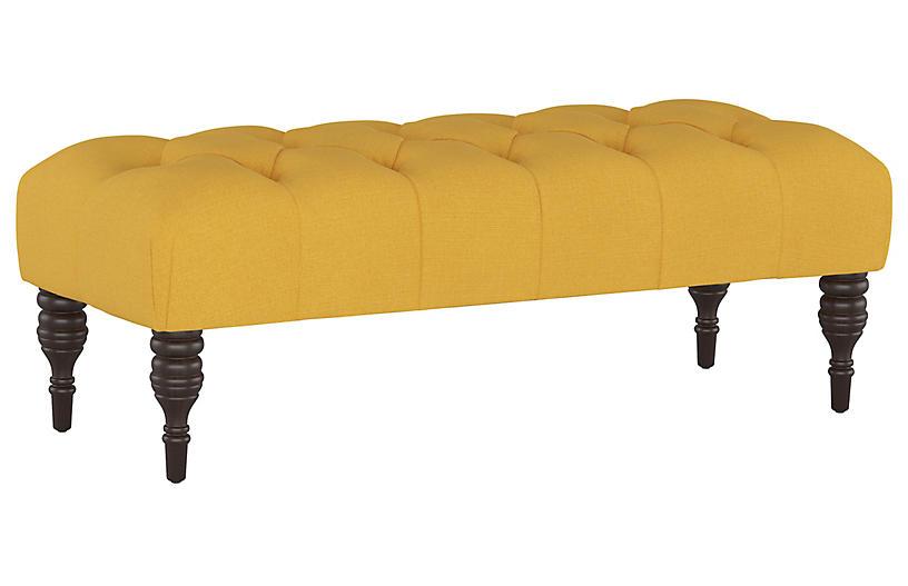 Stanton Tufted Bench, Mustard Linen