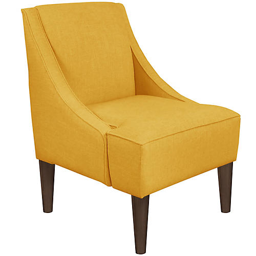 Quinn Swoop-Arm Accent Chair, Mustard Linen