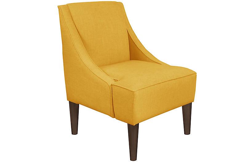 Quinn Swoop-Arm Accent Chair, Mustard Linen