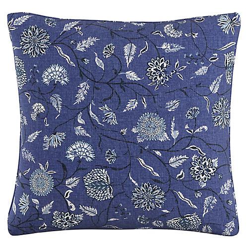 Dahlia 20x20 Pillow, Indigo Floral Linen