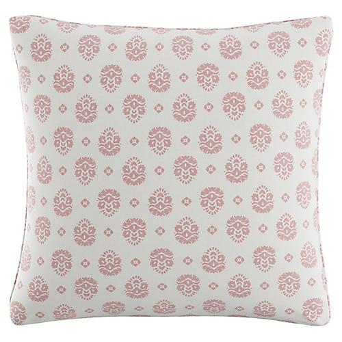 Block Floral 20x20 Pillow, White/Pink