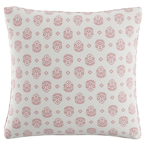 Block Floral 20x20 Pillow, White/Pink