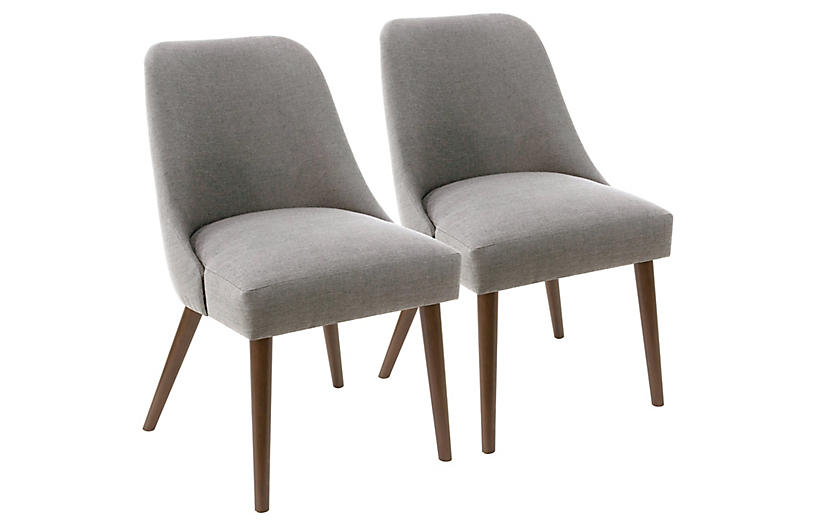 S/2 Barron Side Chairs, Gray