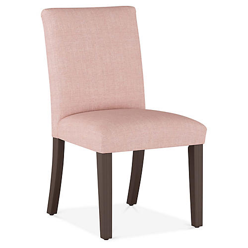Erin Pleated Side Chair, Blush Linen