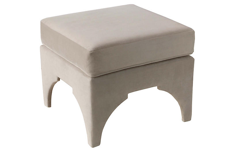 Maude Pillow-Top Ottoman, Light Gray Velvet