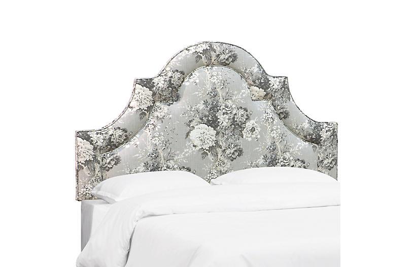 Kennedy Arched Headboard, Platinum Floral Linen
