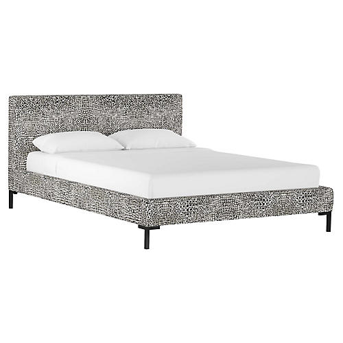 Smith Platform Bed, Tiles Ink Linen