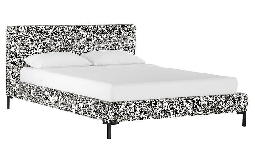 Smith Platform Bed, Tiles Ink Linen