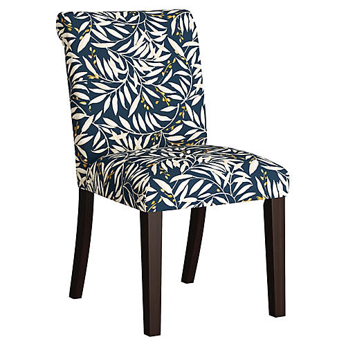 Carmen Side Chair, Navy Leaves