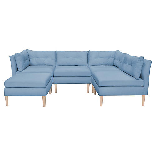 Madeline U-Shaped Sectional, French Blue Linen