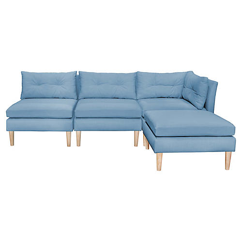 Madeline Reversible Sectional, French Blue Linen