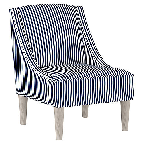 Quinn Swoop-Arm Accent Chair, Navy Stripe Linen