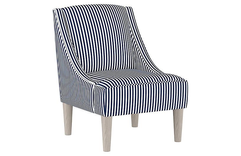 Quinn Swoop-Arm Accent Chair, Navy Stripe Linen