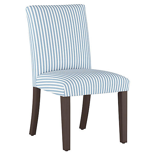 Shannon Side Chair, Blue Stripe Linen