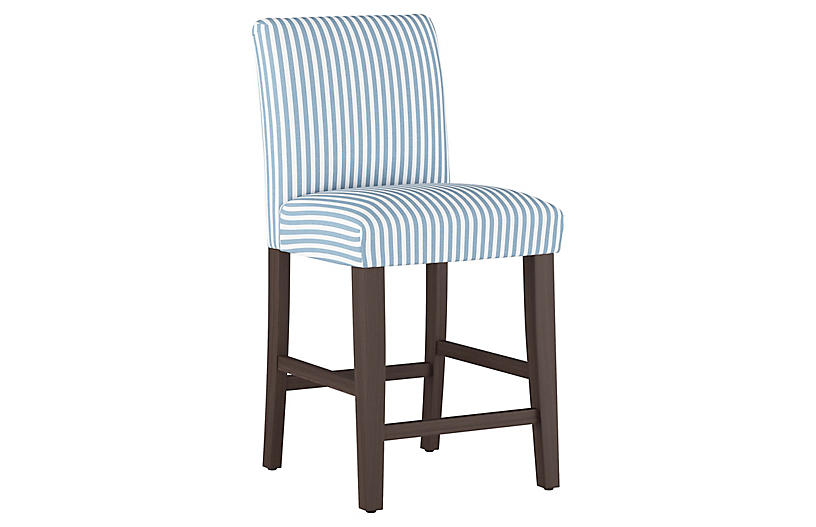 Shannon Counter Stool, Blue Stripe Linen