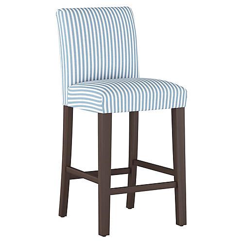 Shannon Barstool, Blue Stripe Linen