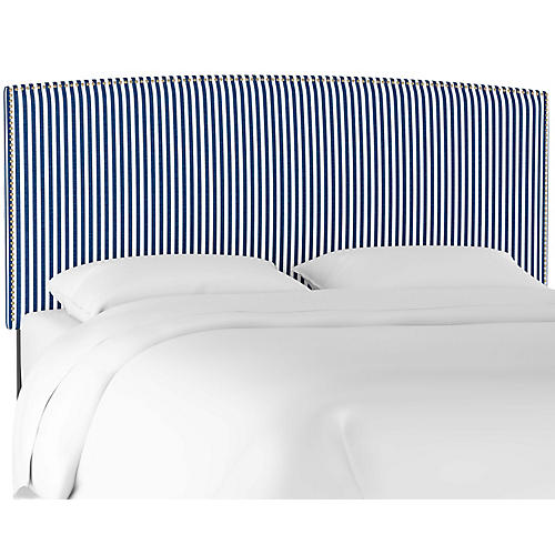 Everly Headboard, Navy Stripe Linen