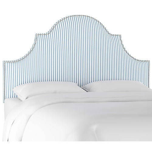 Hedren Headboard, Blue Stripe Linen