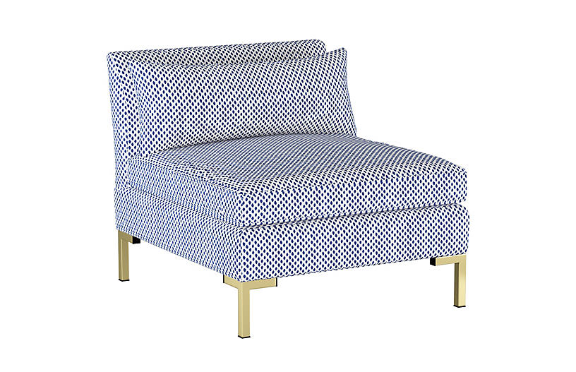 Marceau Slipper Chair, Navy Dot