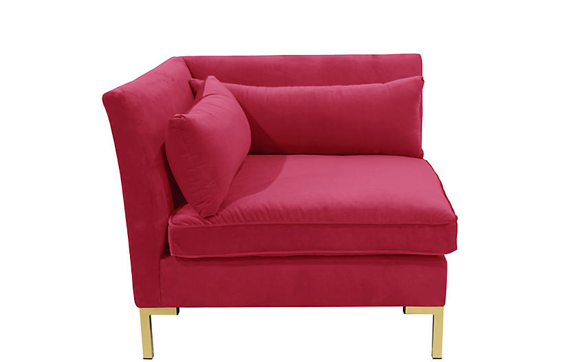 Marceau Corner Chair, Fuchsia Velvet