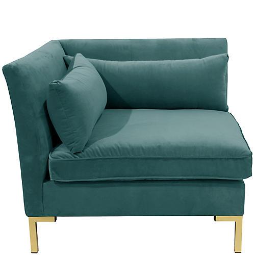 Marceau Corner Chair, Peacock Velvet