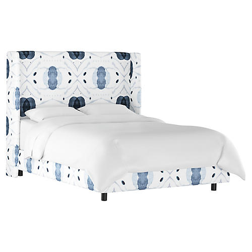 Kelly Wingback Bed, Blue/White Linen