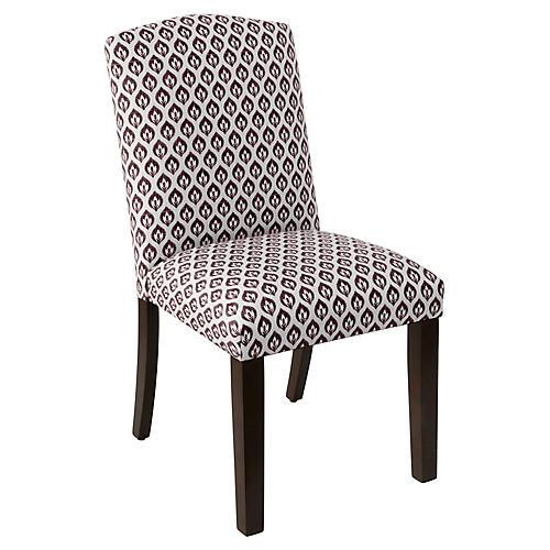 Marie Side Chair, Plum Floral Linen